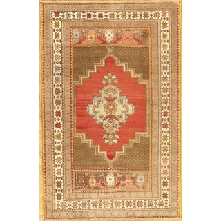 Hand-Knotted Oushak Rug- 4' X 6'
