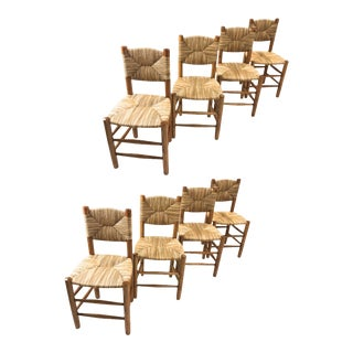"Charlotte Perriand Genuine Rare Set of 8 Model ""Bauche"" Chairs For Sale"