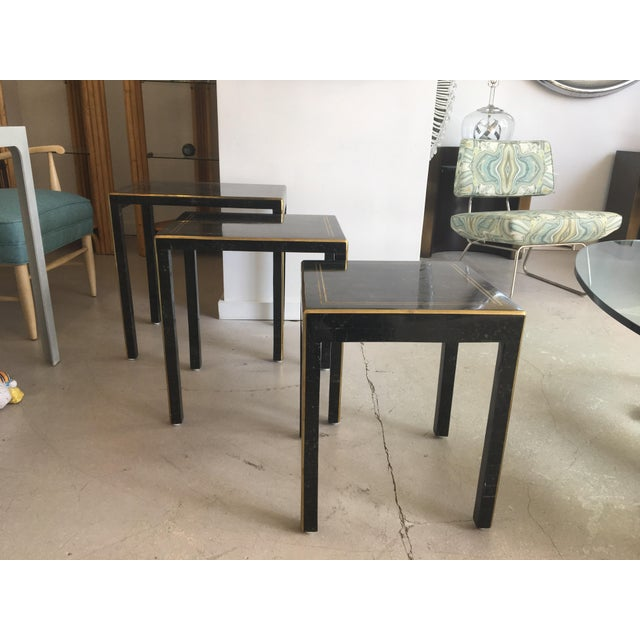 Black 1970s Art Deco Tessellated Stone Nesting Tables - Set of 3 For Sale - Image 8 of 9