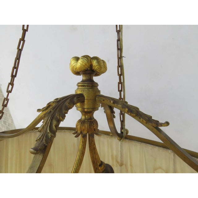 Metal French Oval Four Light Gilt Bronze Ormolu Chandelier For Sale - Image 7 of 9