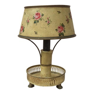 1900s French Yellow Tole Lamp With Pink Flowers For Sale