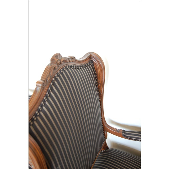 Louis XV French Pinstripe Carved Fauteuils - Pair - Image 3 of 9