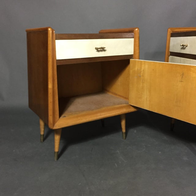 Brass Pair Italian 1960 Parchment and Maple Nightstands For Sale - Image 7 of 9