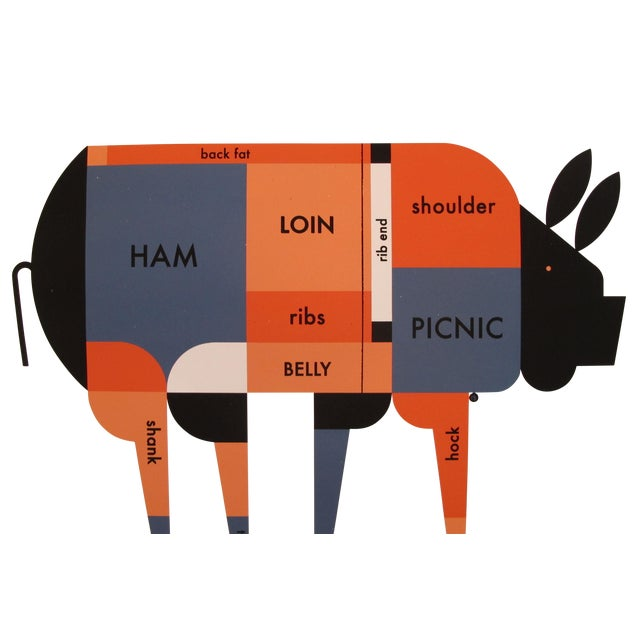 Contemporary Kitchen Poster, Piggie Meat Chart For Sale