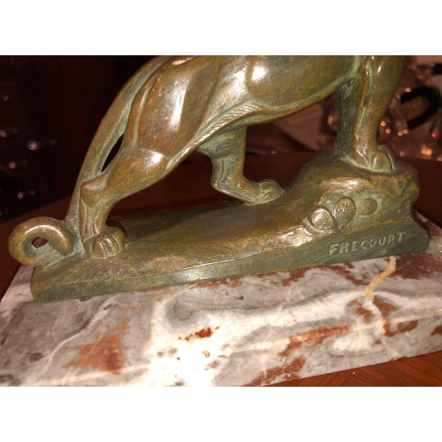 French Art Deco Panther Leopard Panther Bookends by Maurice Frecourt, 1930 Statue - a Pair For Sale - Image 11 of 13