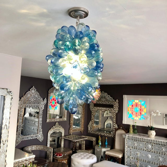 2010s Shades of Blues Handblown Glass Light Fixture For Sale - Image 5 of 11