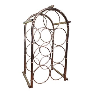 Vintage Chinoiserie Faux Bamboo Brass Wine Rack Holder For Sale