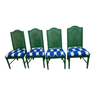 Set of Four Bright Green and Blue Mid Century Dining Chairs For Sale