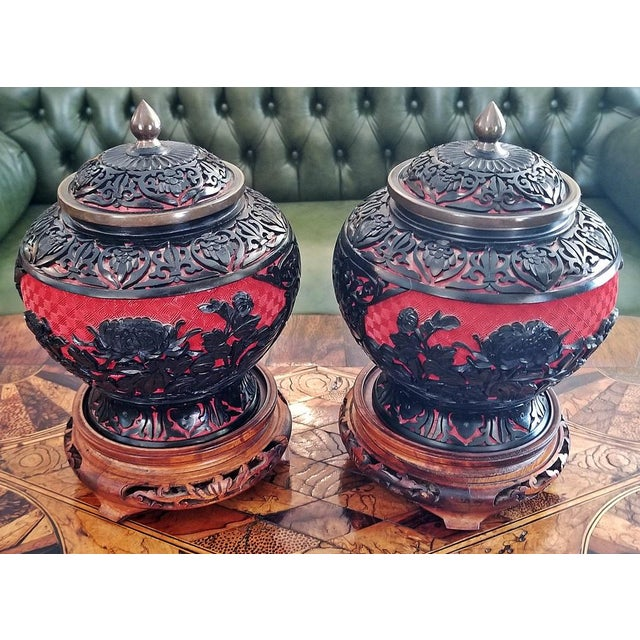 20th Century Chinese Cinnabar and Enamel Lidded Urns on Stand - a Pair For Sale - Image 9 of 11