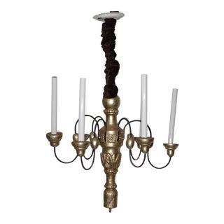 Vintage Carved Wood & Gilded Six Light Chandelier For Sale