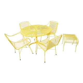 Mid Century Modern Buttercup Yellow Wrought Iron Patio Dining Set- 6 Pieces For Sale