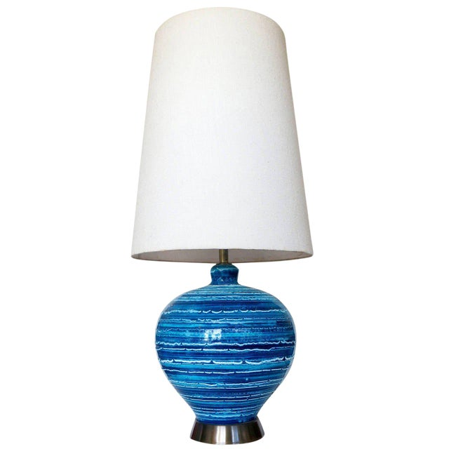 Mid-Century Variegated Blue Striped Glazed Ceramic Lamp - Image 1 of 6