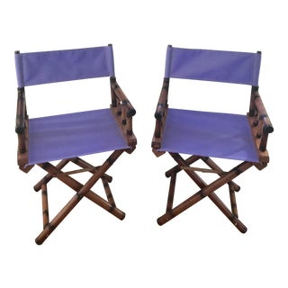 1960s Vintage Faux Bamboo Director's Chairs ~ a Pair For Sale