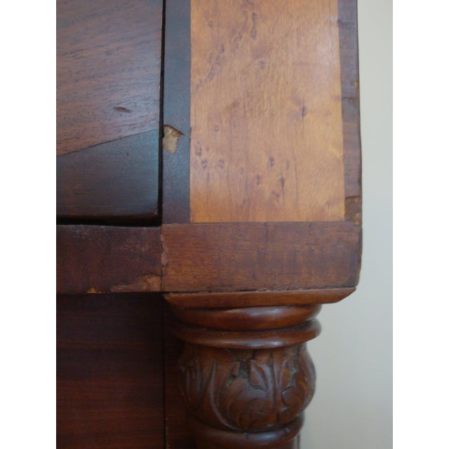 Brown 19thC Antique Burl & Walnut Empire Chest of Drawers For Sale - Image 8 of 12