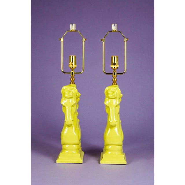 1950's Mid-Century Chartreuse Horse Chess Piece Lamps - a Pair For Sale - Image 4 of 6