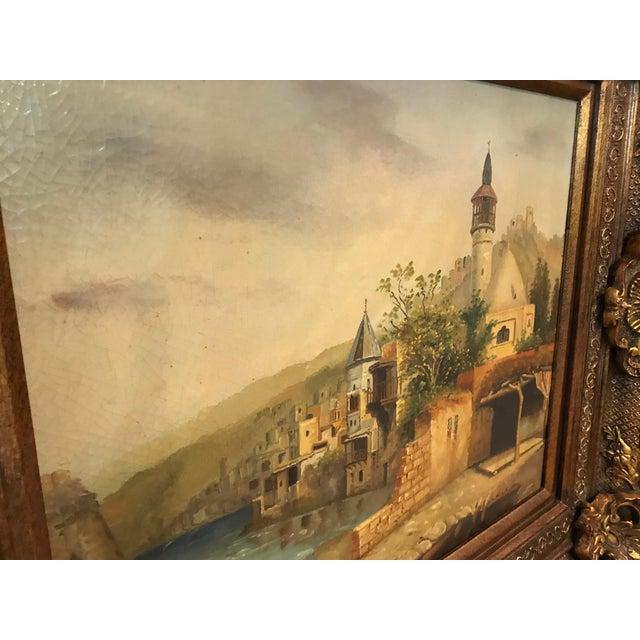 German Village Scene Oil Painting in Huge Gilt Frame For Sale - Image 4 of 6