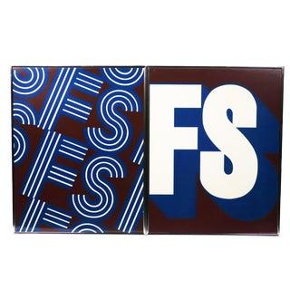 Vintage Framed Typographical Prints For Sale
