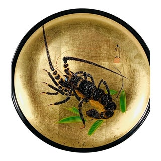 Vintage Japanese Hand Painted Lobster Decorative Plate For Sale
