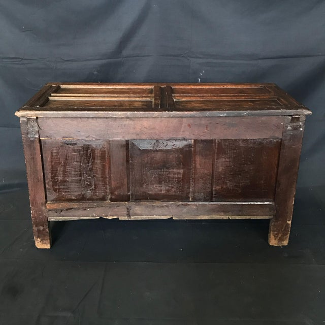 Antique 18th Century Paneled and Carved Scottish Coffer Chest For Sale - Image 12 of 13