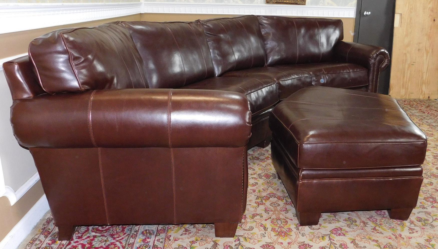 3 Piece Bernhardt Brown Leather Sectional Sofa U0026 Ottoman   Image 7 ...