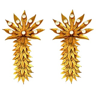Dominique Aurentis Massive Pearl and Gilt Metal Palm Frond Earclips For Sale