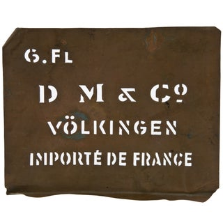 Vintage French Volklingen Ironworks Copper Stencil For Sale