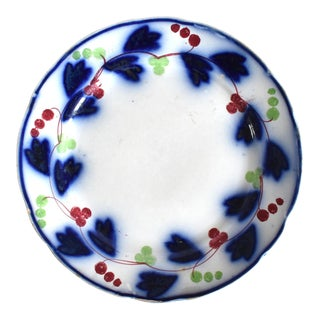 Late 19th Century Antique Gaudy Flow Blue Plate For Sale
