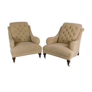 Sherrill English Regency Style Tufted Pair Lounge Chairs For Sale