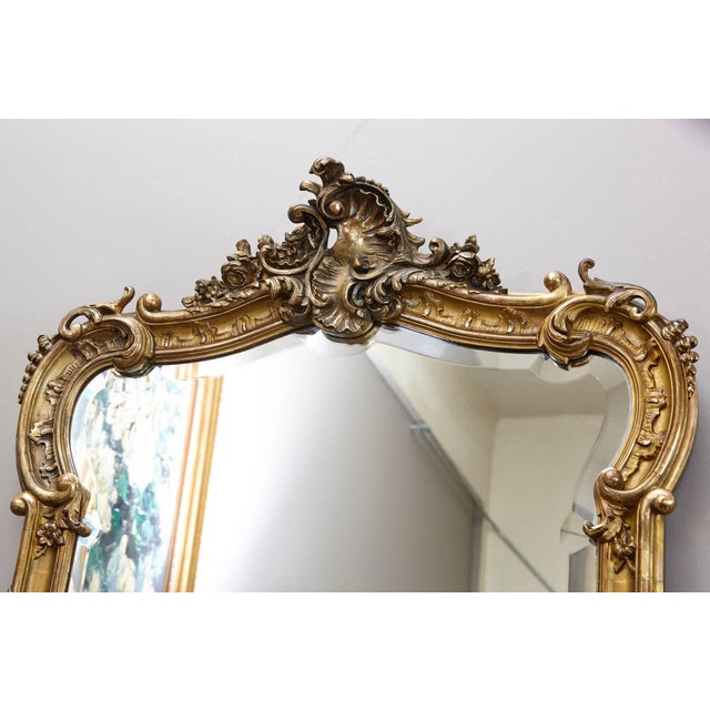 Wood 19th Century French Rococo Mirror With Beveled Glass For Sale - Image 7 of 11