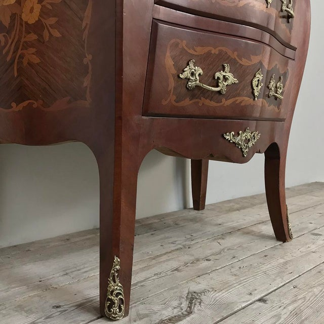 Metal Antique French Louis XV Bombe Marquetry Marble Top Commode For Sale - Image 7 of 13