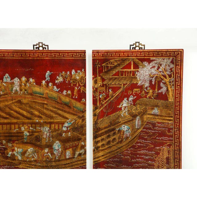 Chinoiserie Red Lacquered Panels - Set of 6 For Sale - Image 4 of 12
