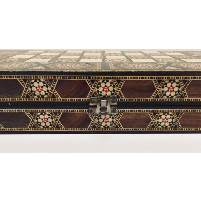 Vintage Mid-Century Syrian Inlaid Mosaic Backgammon and Chess Game For Sale - Image 9 of 12