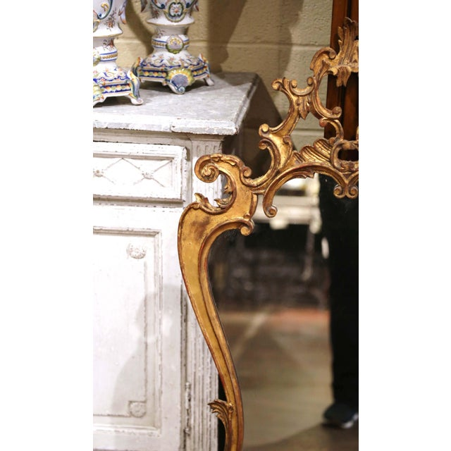 Rococo Early 20th Century Italian Rococo Carved Giltwood Wall Mirror For Sale - Image 3 of 8