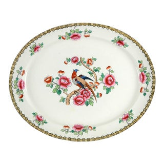 "1920s F Winkle Pheasant 19"" Oval Serving Platter For Sale"