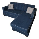 Image of Blue Couch With Left or Right-Facing Chaise For Sale
