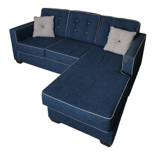 Blue Couch With Left or Right-Facing Chaise For Sale