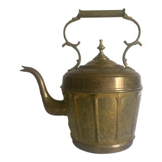 Early 1900s Vintage Moroccan Brass Majmar Gooseneck Spout Large Teapot Kettle For Sale
