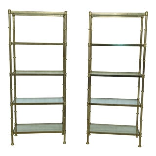 Pair Regency Style Tiered Brass & Glass Curio Shelves For Sale