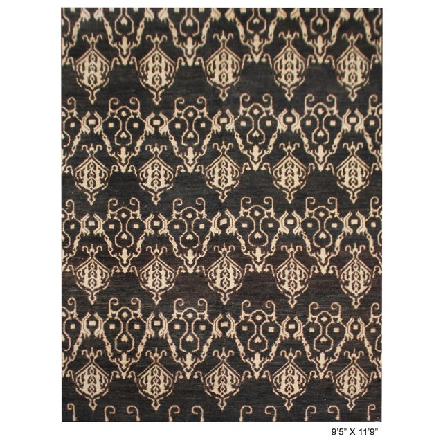 Beautiful handmade Ikat rug, by Aara Rugs. It's a brand new rug with very modern design and colors, dyed with all natural...