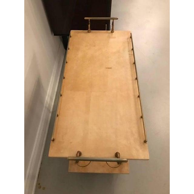 Aldo Tura Aldo Tura Brass and Parchment Bar Cart For Sale - Image 4 of 9