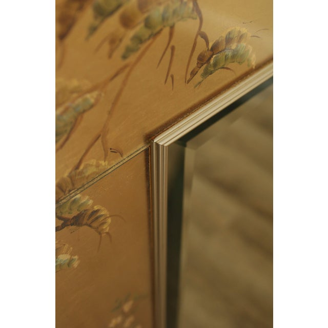 LaBarge Gold Chinoiserie Eglomise Reverse Painted Mirror For Sale - Image 11 of 13