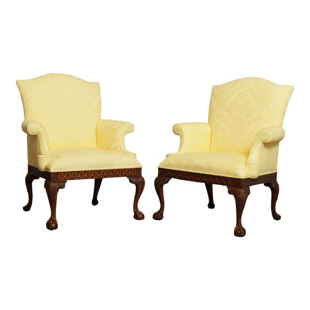 Ardsley Hall Fine Chippendale Style Ball & Claw Mahogany Pair Library Armchairs For Sale