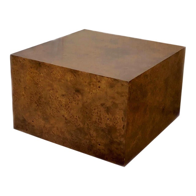1970s Milo Baughman Burl Wood Large Cube End Table For Sale