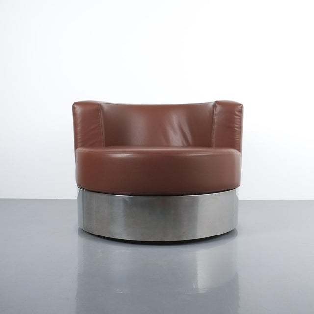 1960s Franco Fraschini Brown Leather Chair for Driade, Italy, 1965 For Sale - Image 5 of 11