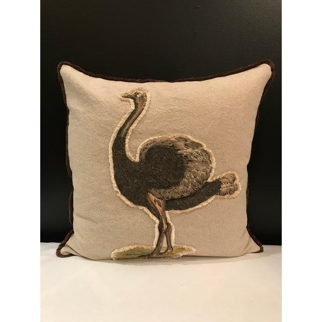 Safari Linen & Cotton Applique Ostrich Pillow For Sale - Image 9 of 9