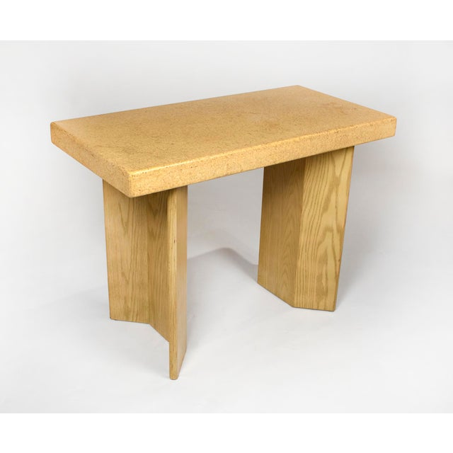 Johnson Furniture Co. 1950s Paul Frankl Bleached Oak & Cork Console Table for Johnson Furniture For Sale - Image 4 of 11