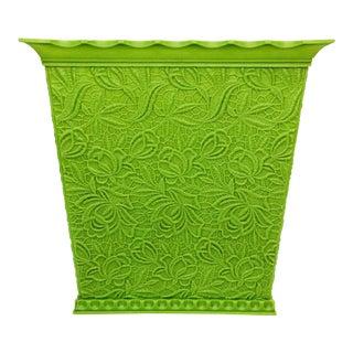 Mid Century Max Klein Green Floral Plastic Waste Basket