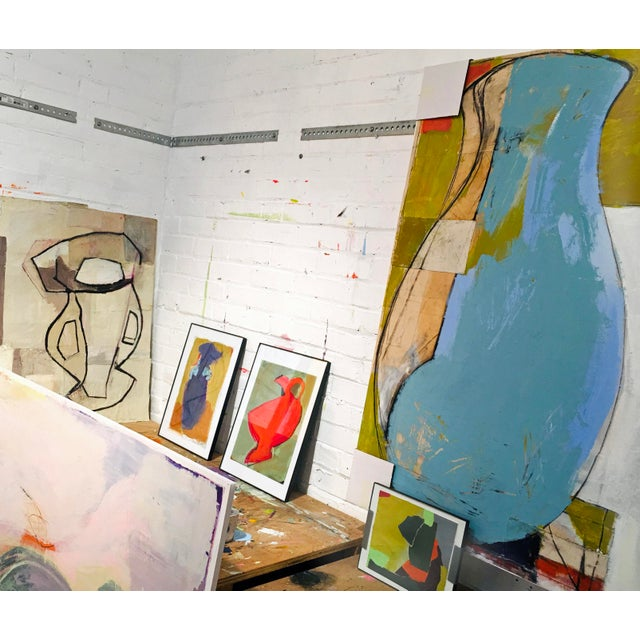 Large Blue Vase Painting - Mixed Media Collage For Sale In Portland, ME - Image 6 of 6