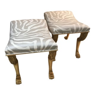 Nob Hill Gold & Zebra Cushion Stools- a Pair For Sale