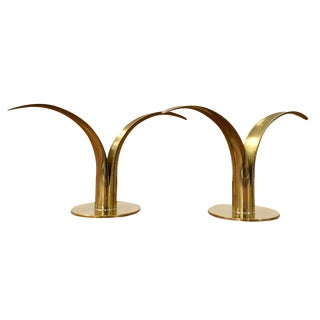 Ystad Vintage Swedish Brass Candleholders - A Pair For Sale